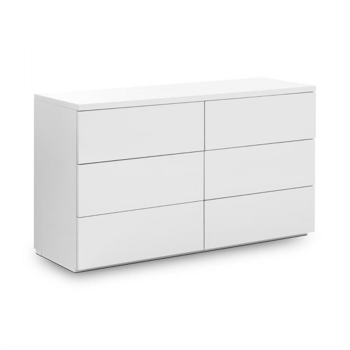 Monaco White Wooden High Gloss 6 Drawer Chest