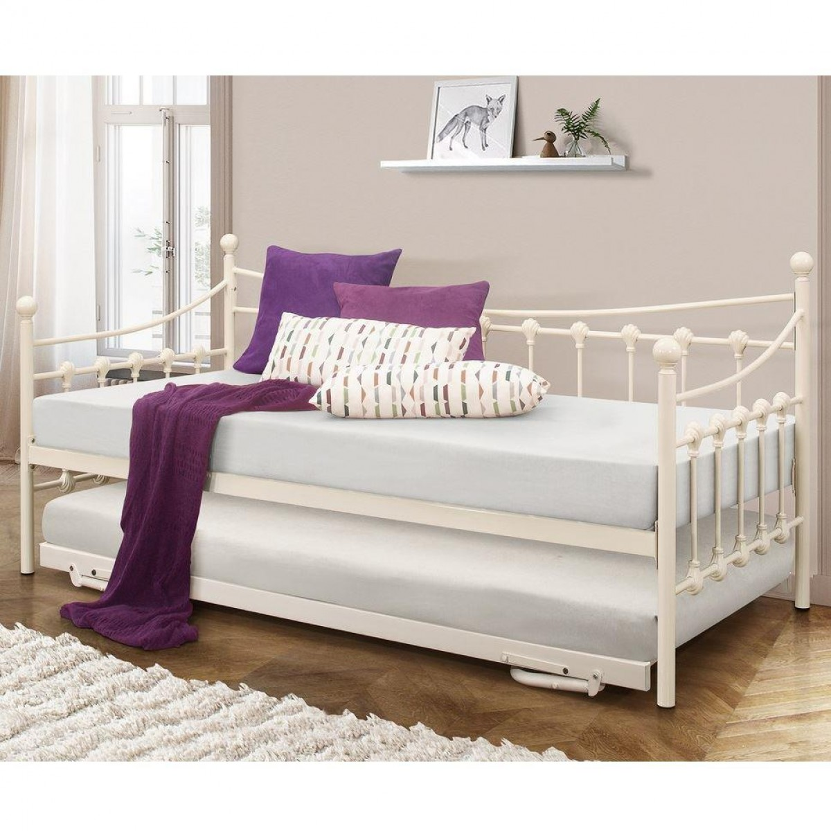 Chantelle Cream Metal Day Bed and Trundle Guest Bed