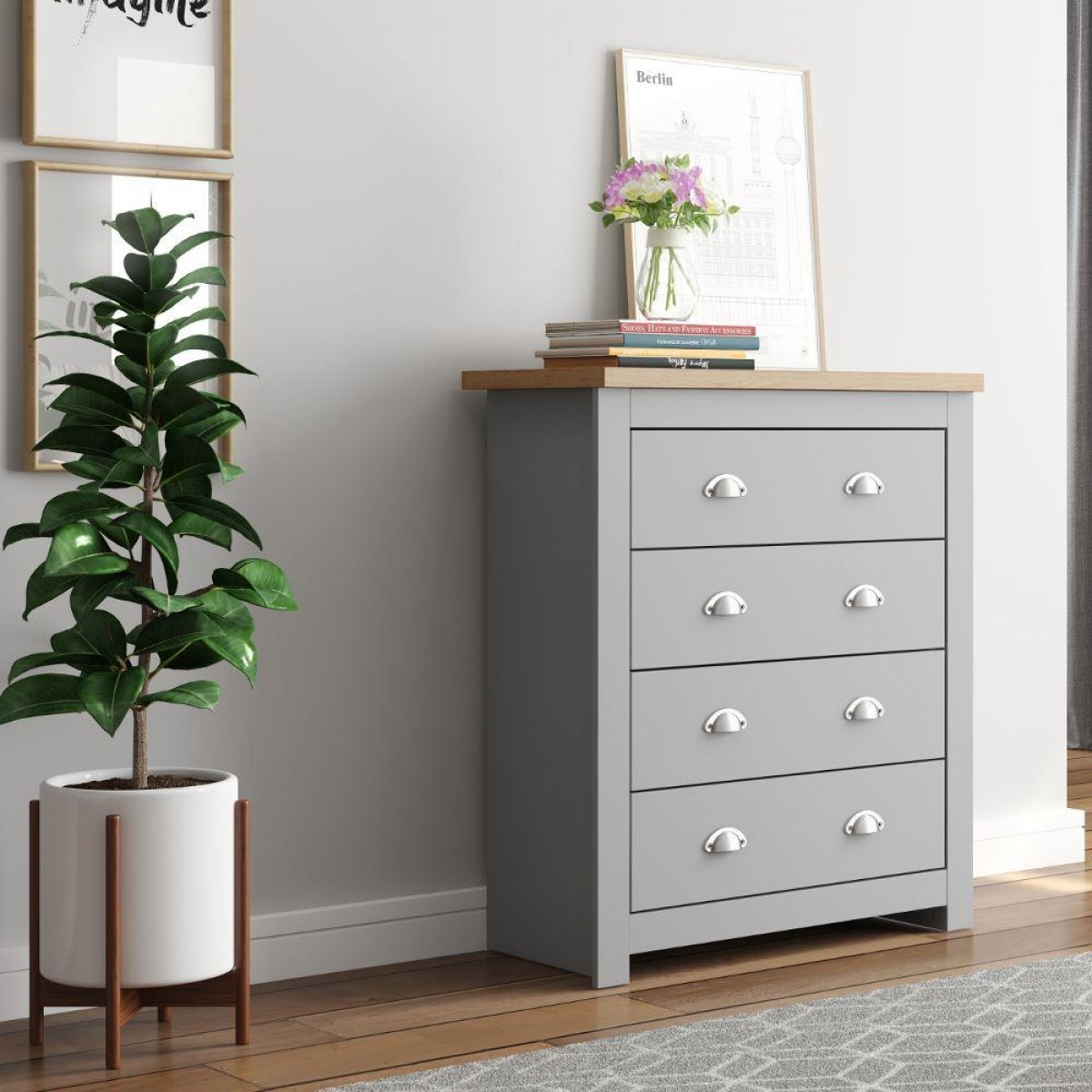 Winchester Grey and Oak 4 Drawer Chest