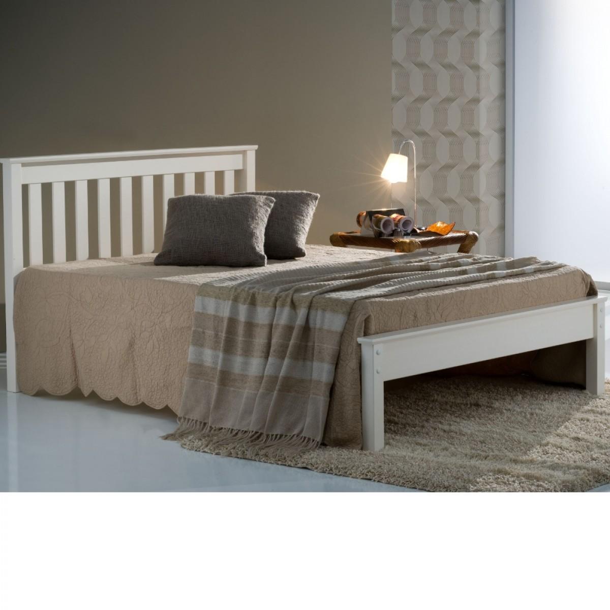 Denver Ivory Finish Solid Pine Wooden Bed