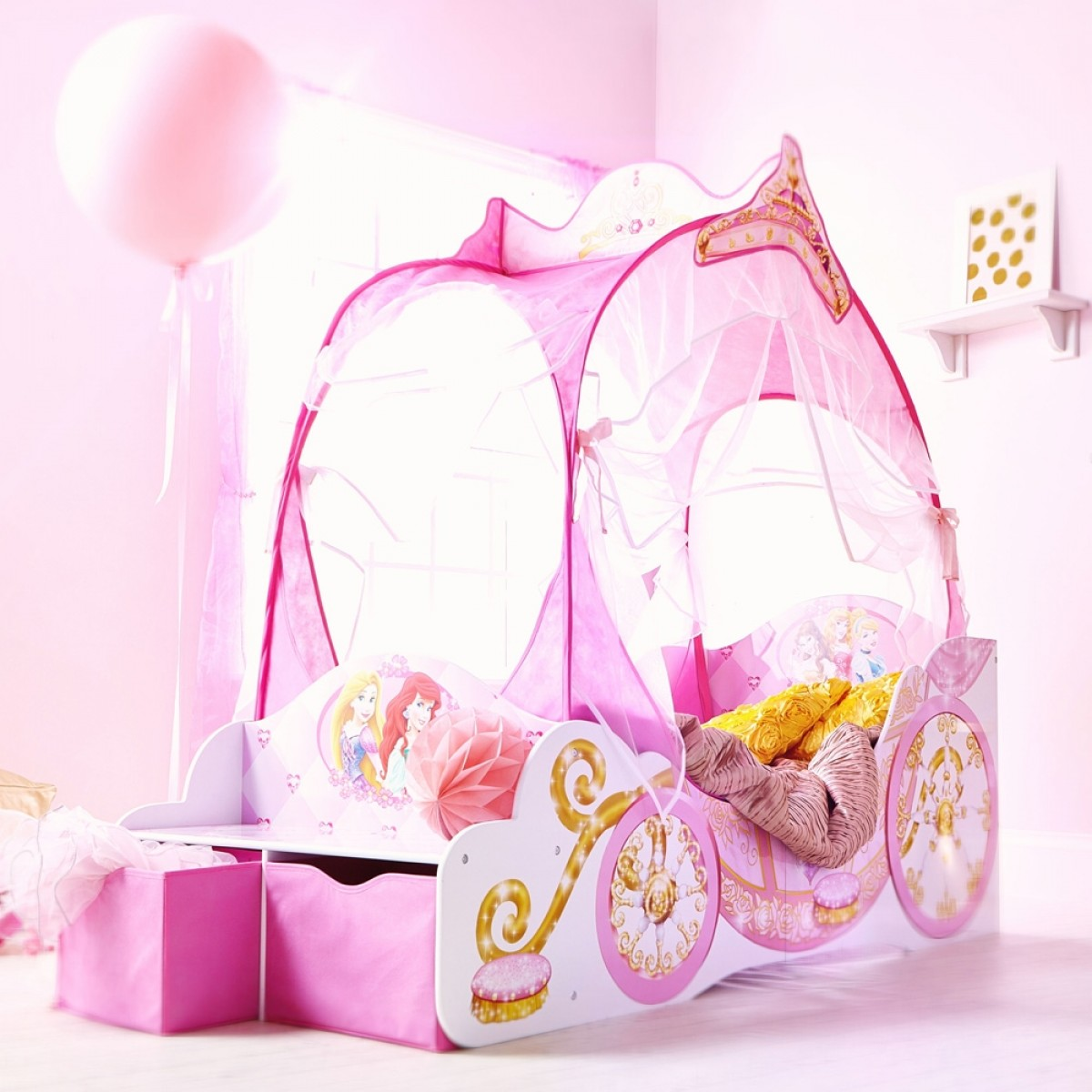 Disney Princess Toddler 2 Drawer Storage Carriage Bed