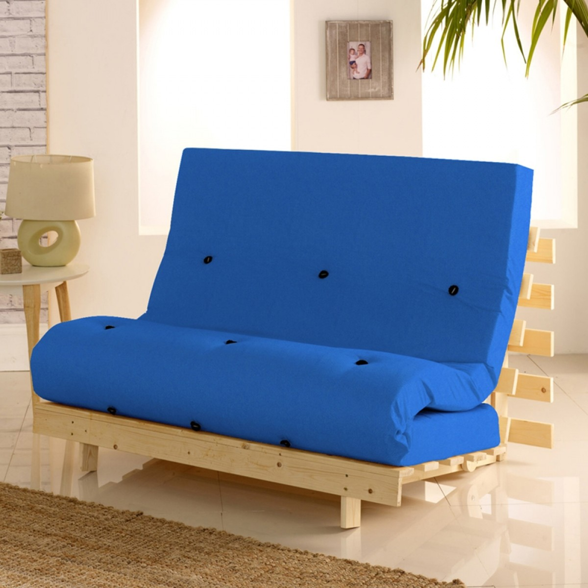 Metro Wooden Folding Guest Futon Blue Mattress