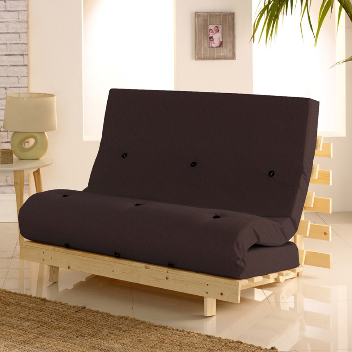 Metro Wooden Folding Guest Futon Brown Mattress