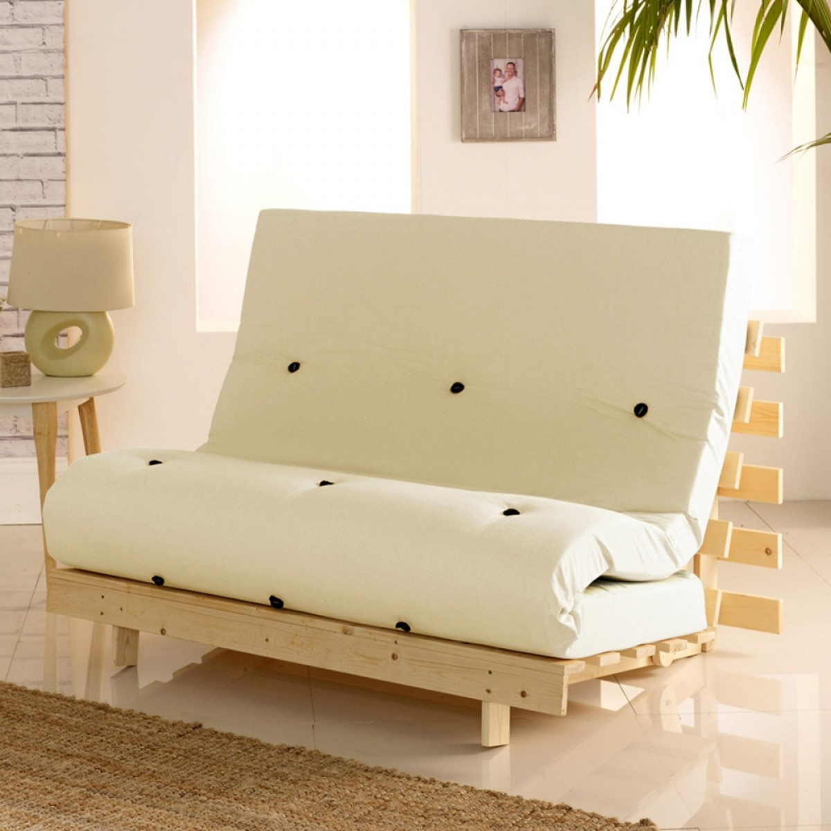 Metro Wooden Folding Guest Futon Cream Mattress