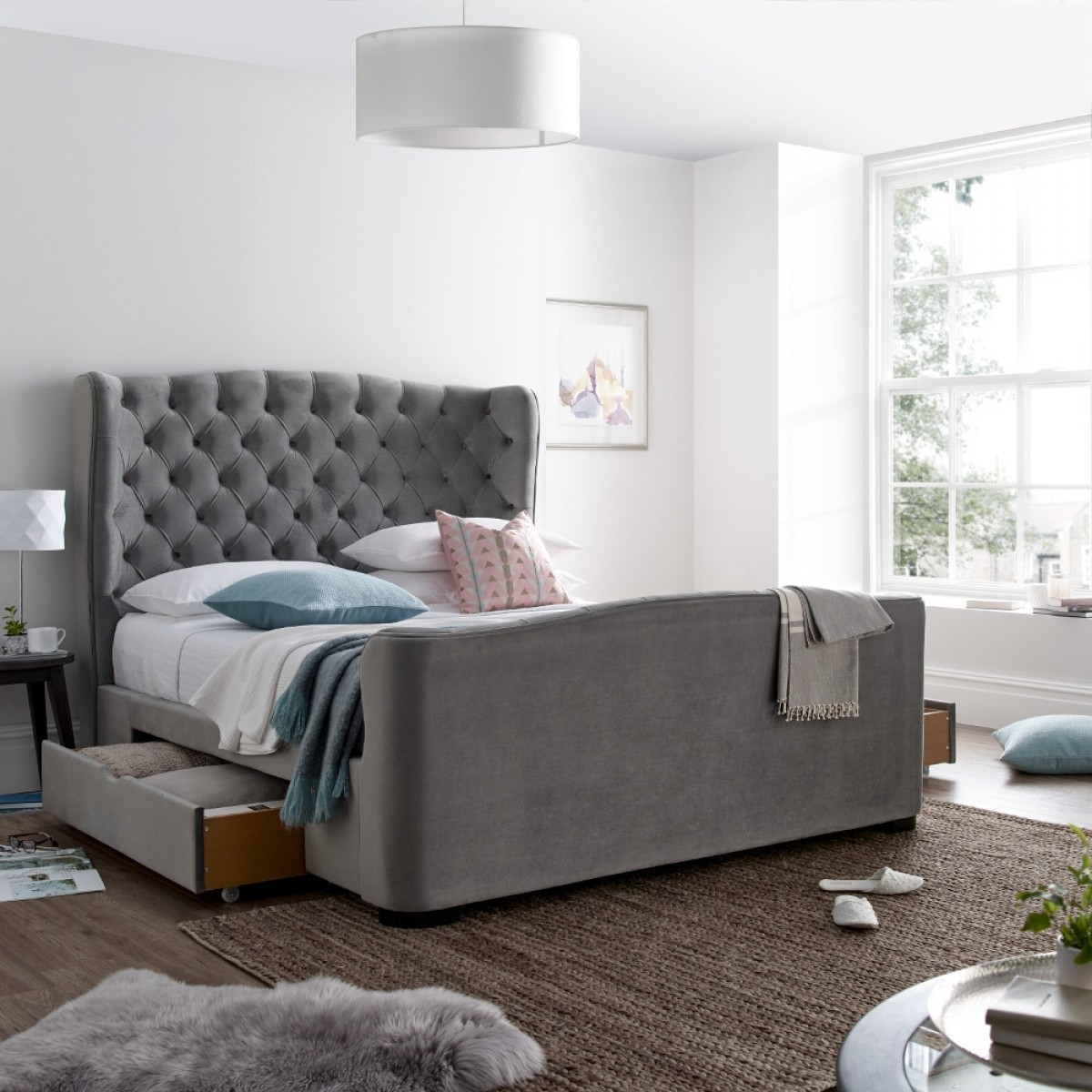 Downton Grey Velvet Fabric 2 Drawer Storage Bed