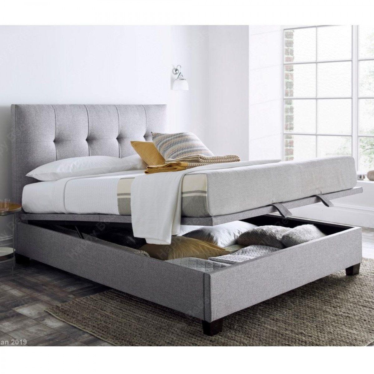 Walkworth Light Grey Fabric Ottoman Storage Bed