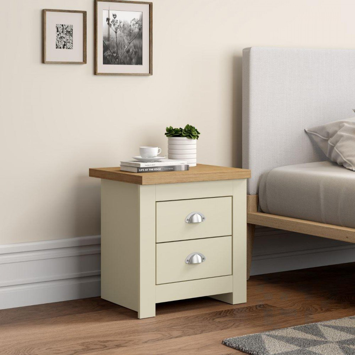 Winchester Cream and Oak Wooden 2 Drawer Bedside Table