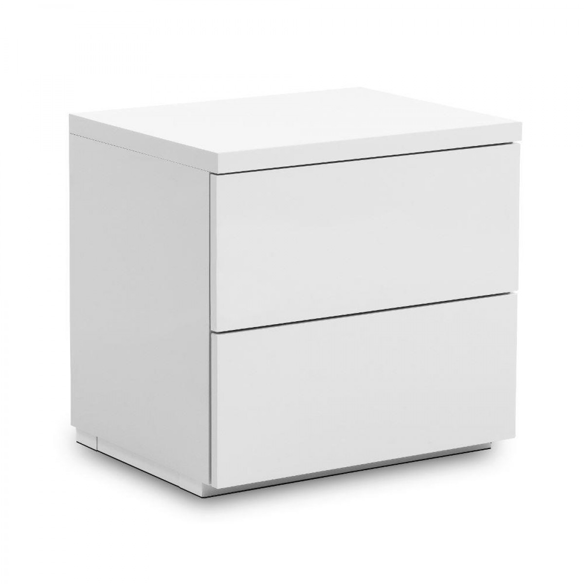 Monaco White Wooden High Gloss 2 Drawer Bedside Table