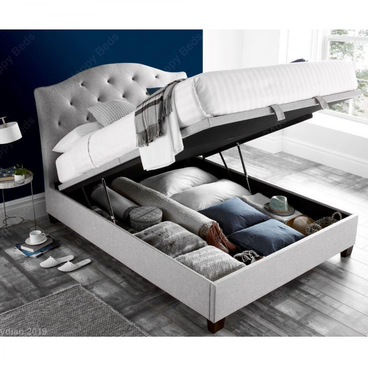 Lindisfarne Stone Grey Fabric Ottoman Storage Bed