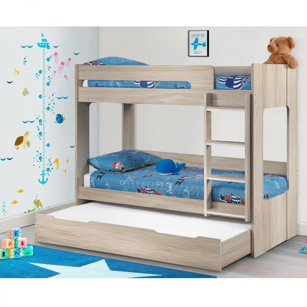 Ellie Oak Wooden Bunk Bed and Trundle Guestbed