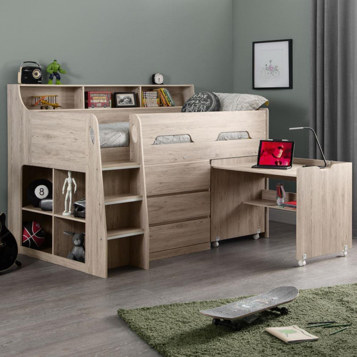 Jupiter Oak Wooden Mid Sleeper Cabin Bed