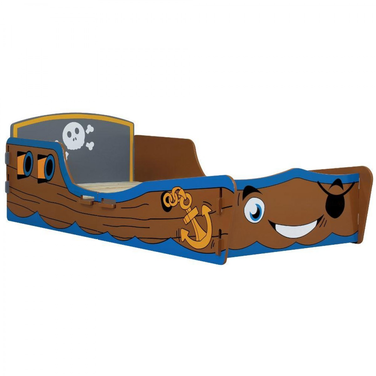 Pirate Ship Blue and Brown Childrens Toddler Bed