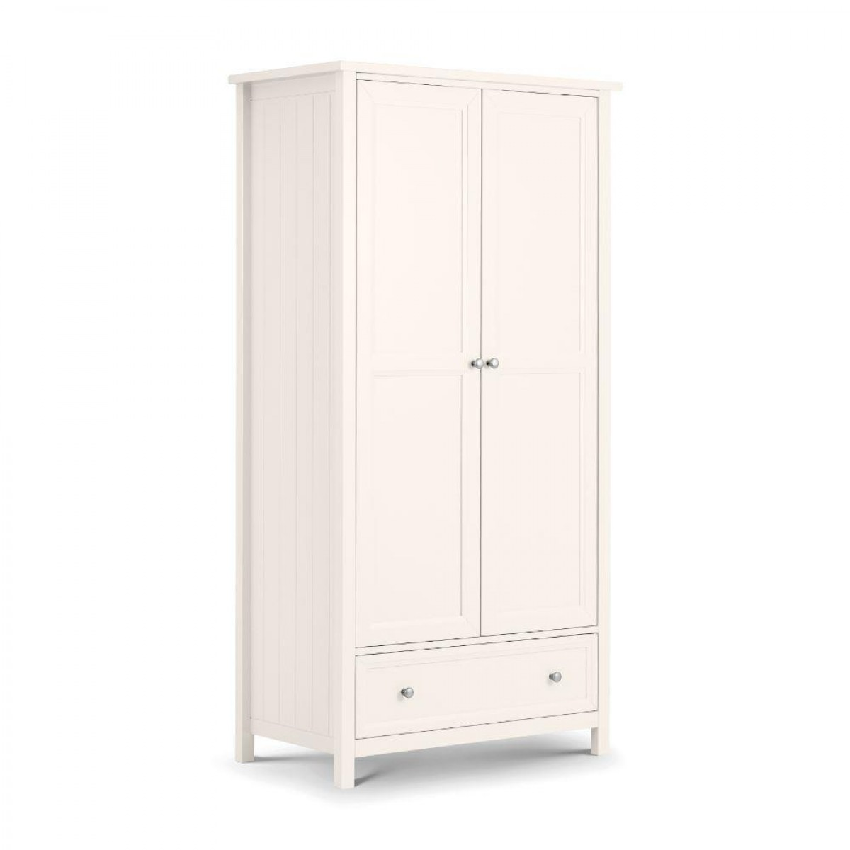 Maine White 2 Door Wooden Combination Wardrobe