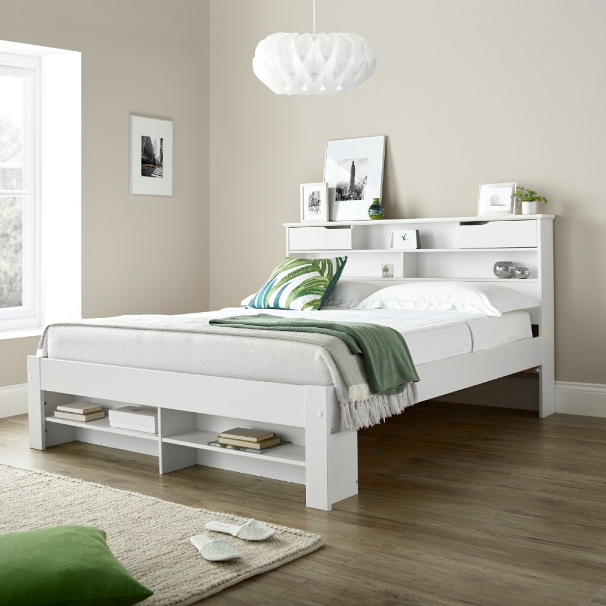 Fabio White Wooden Bookcase Storage Bed