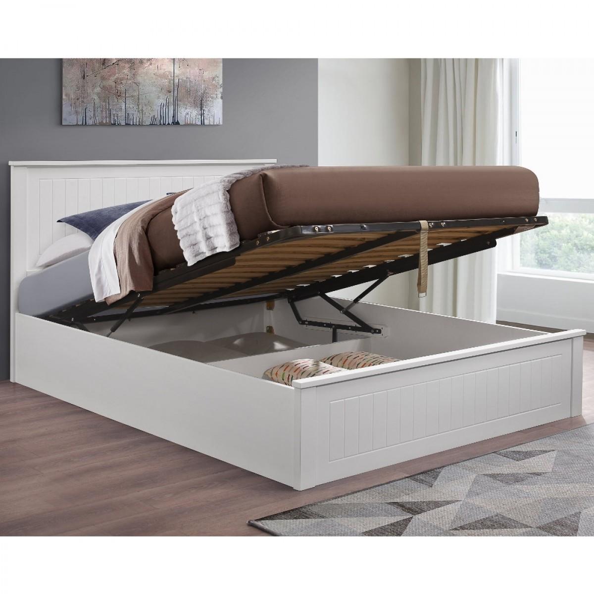 Fairmont White Wooden Ottoman Storage Bed
