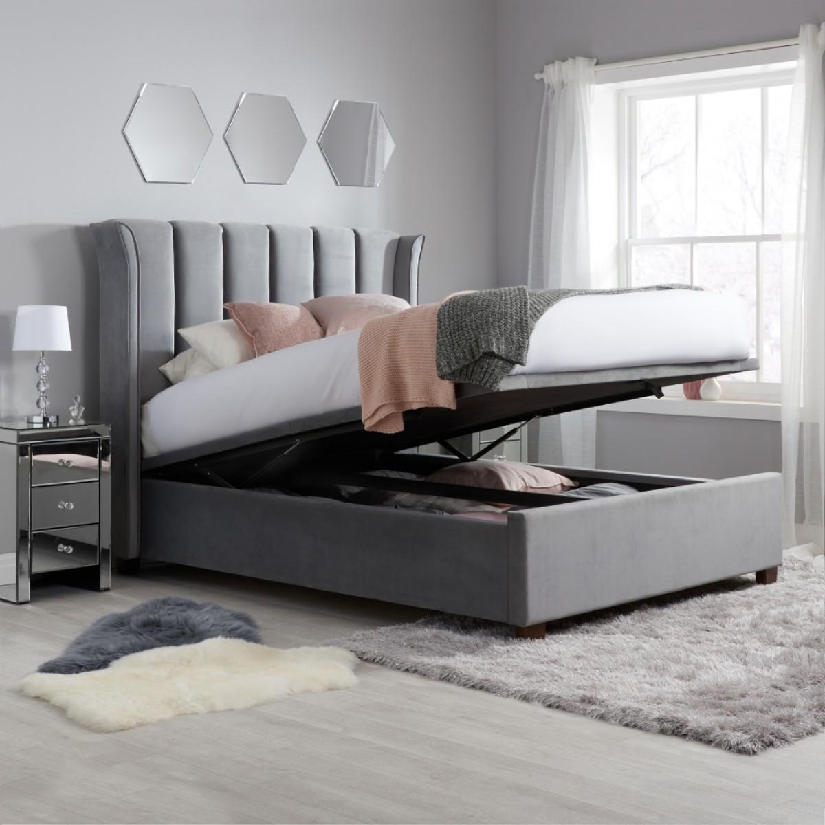 Fenton Grey Velvet Fabric Ottoman Bed