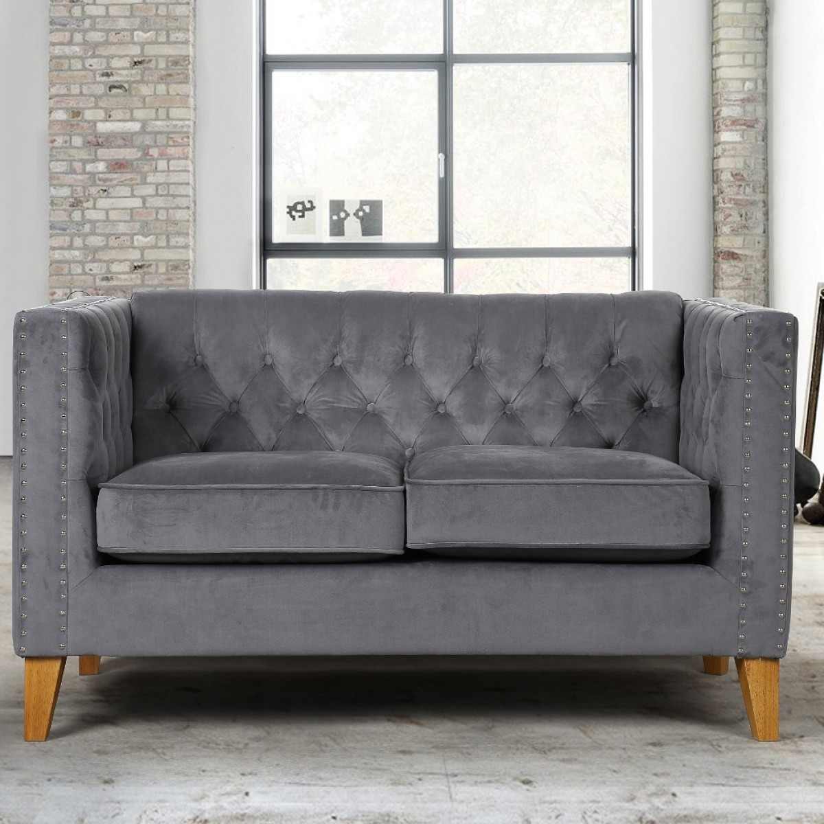 Florence Grey Medium Sofa