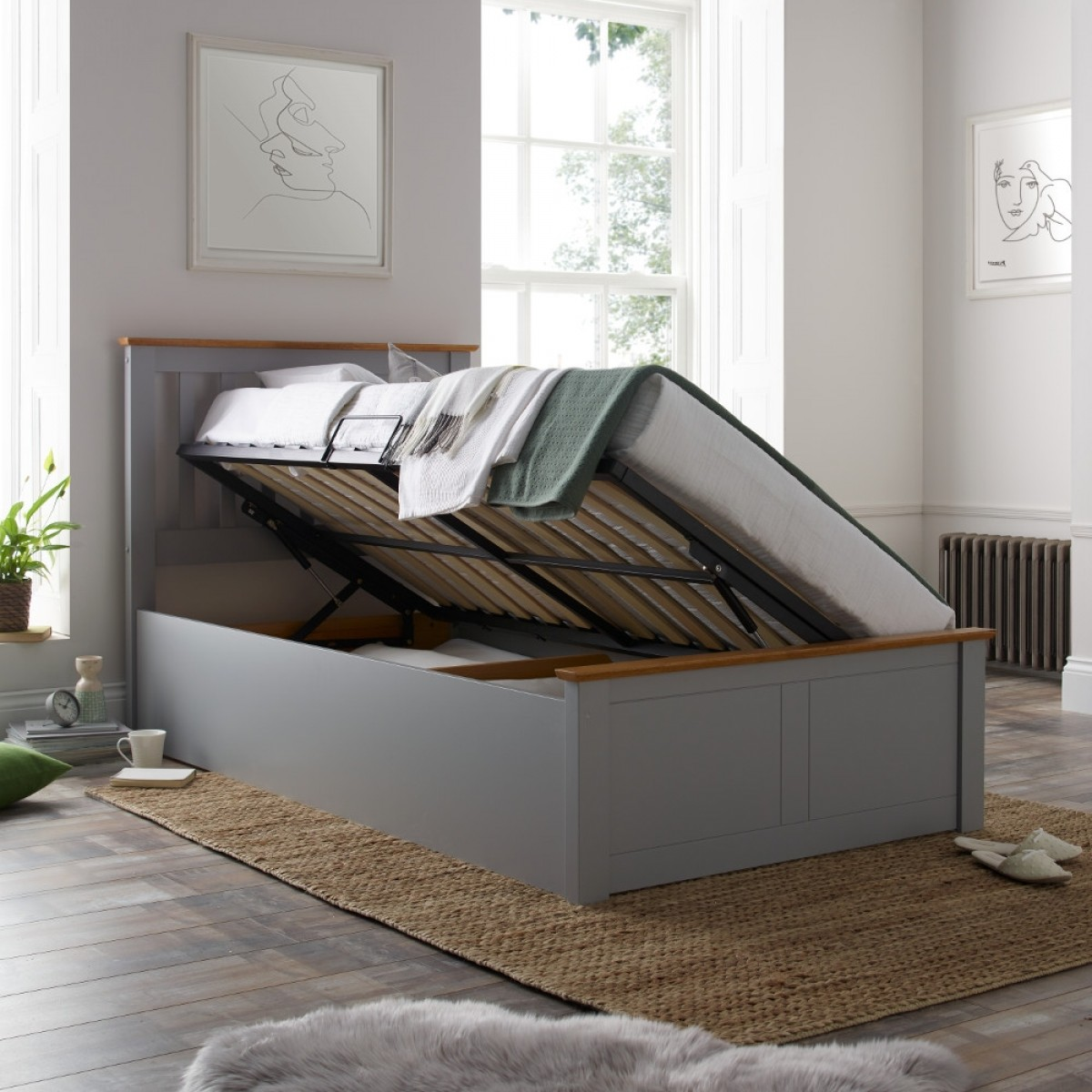 Francis Grey Wooden Ottoman Storage Bed