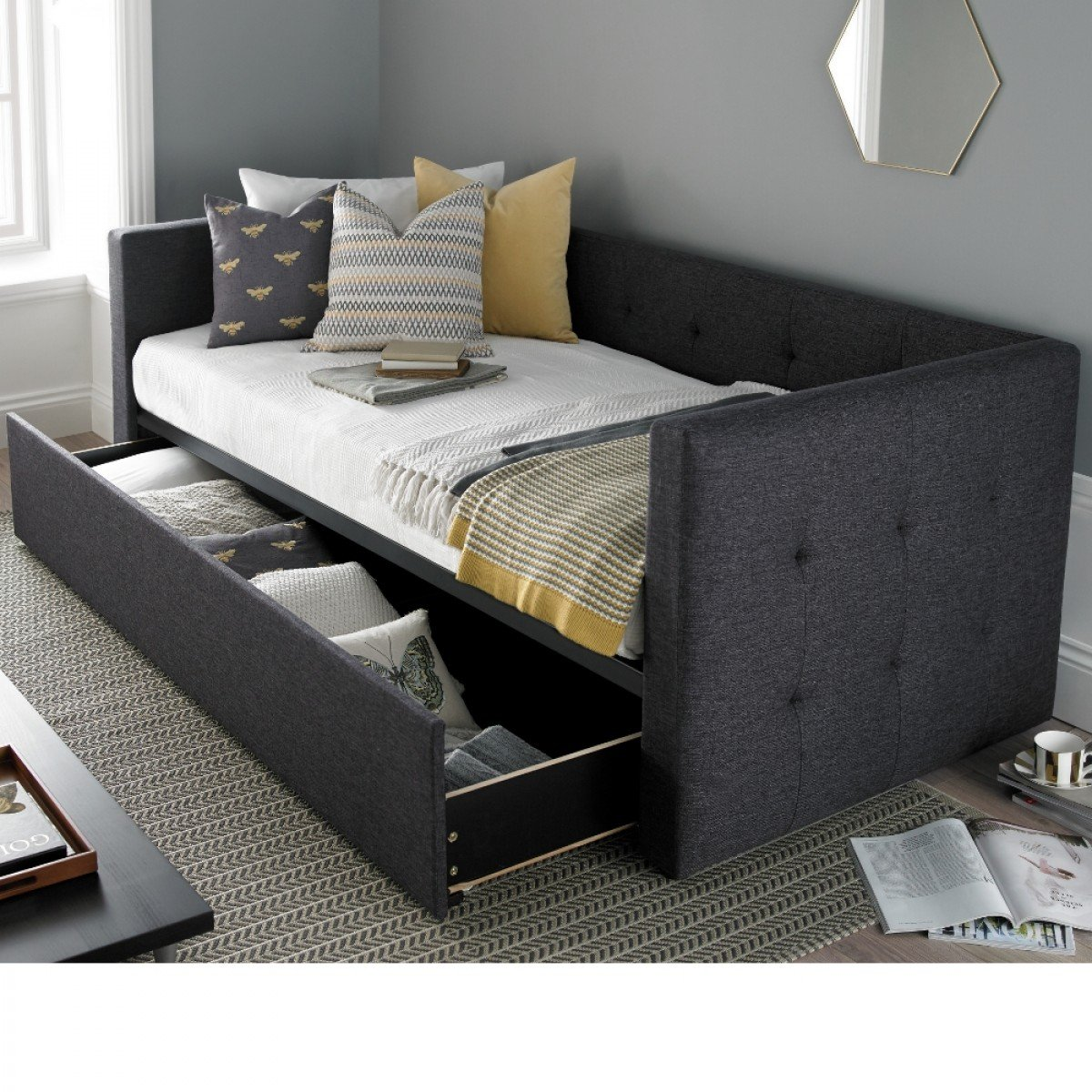 Frankie Grey Fabric Guest Bed