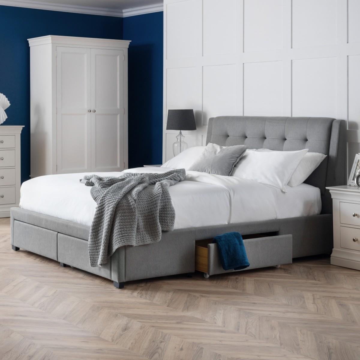 Fullerton Grey Fabric 4 Drawer Storage Bed