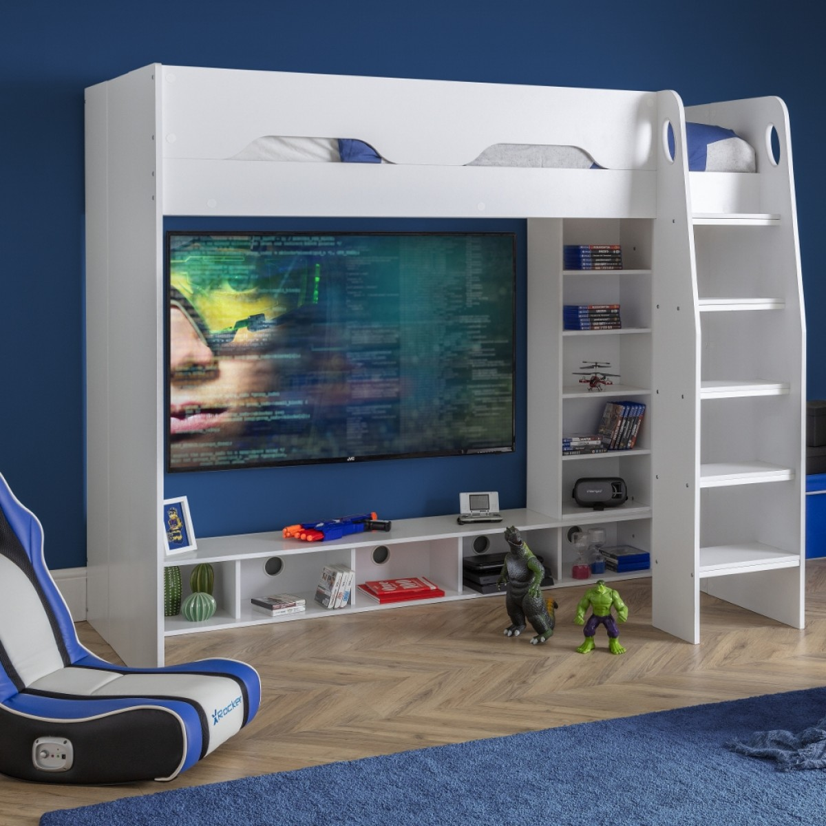 Galaxy White Wooden High Sleeper Gaming Bed