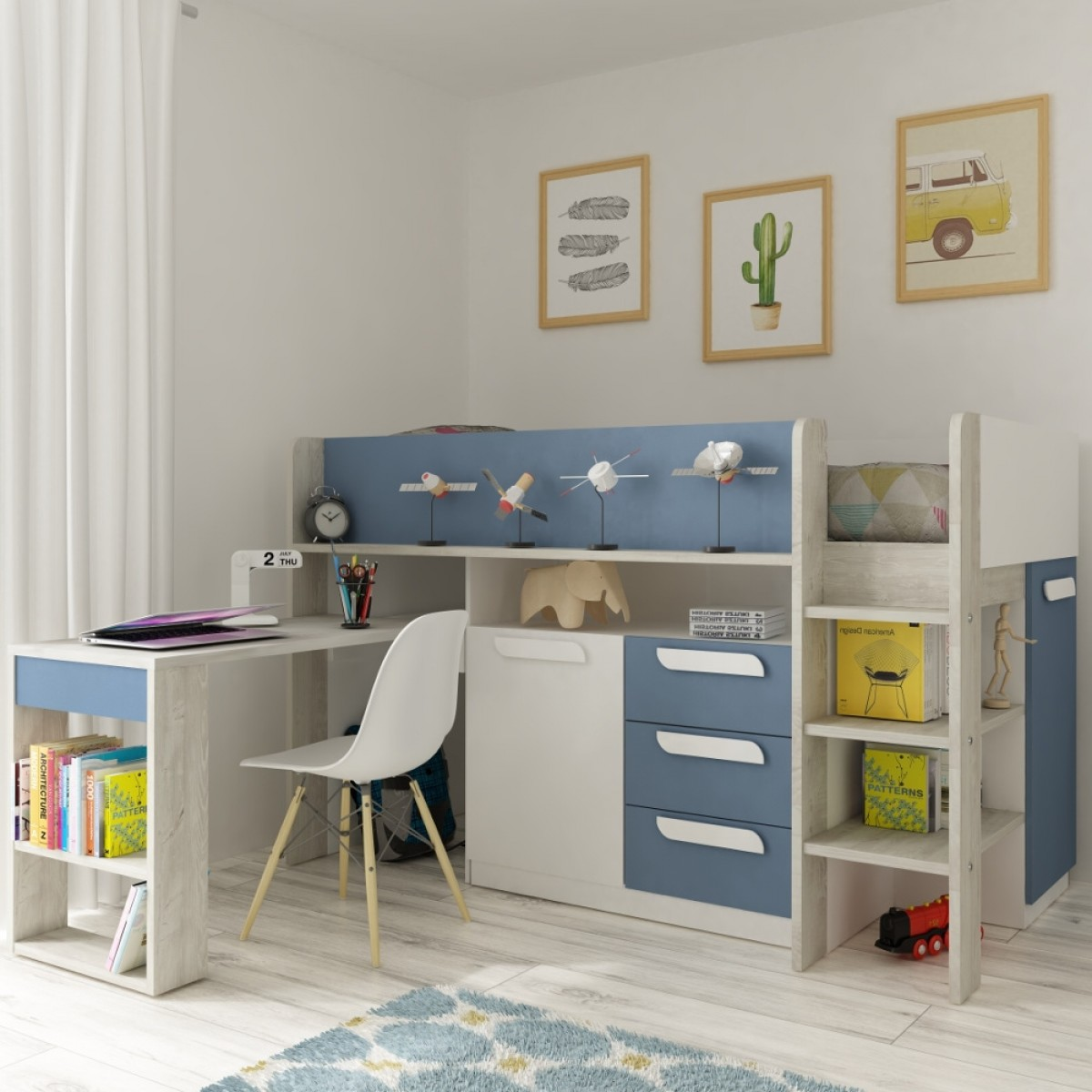 Girona Blue and Oak Wooden Mid Sleeper