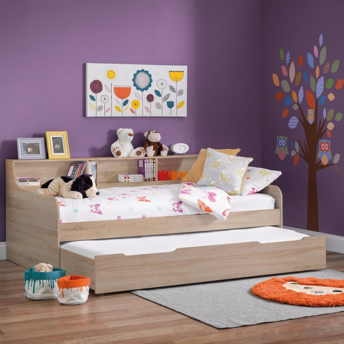 Grace Oak Wooden Day Bed with Guest Bed Trundle
