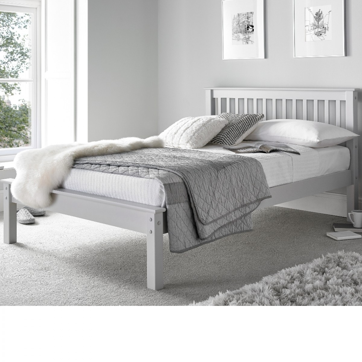 Grace Grey Wooden Low Foot End Bed