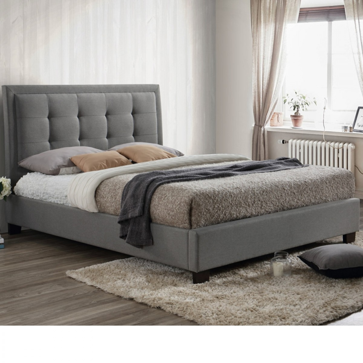 Hamilton Grey Fabric Bed