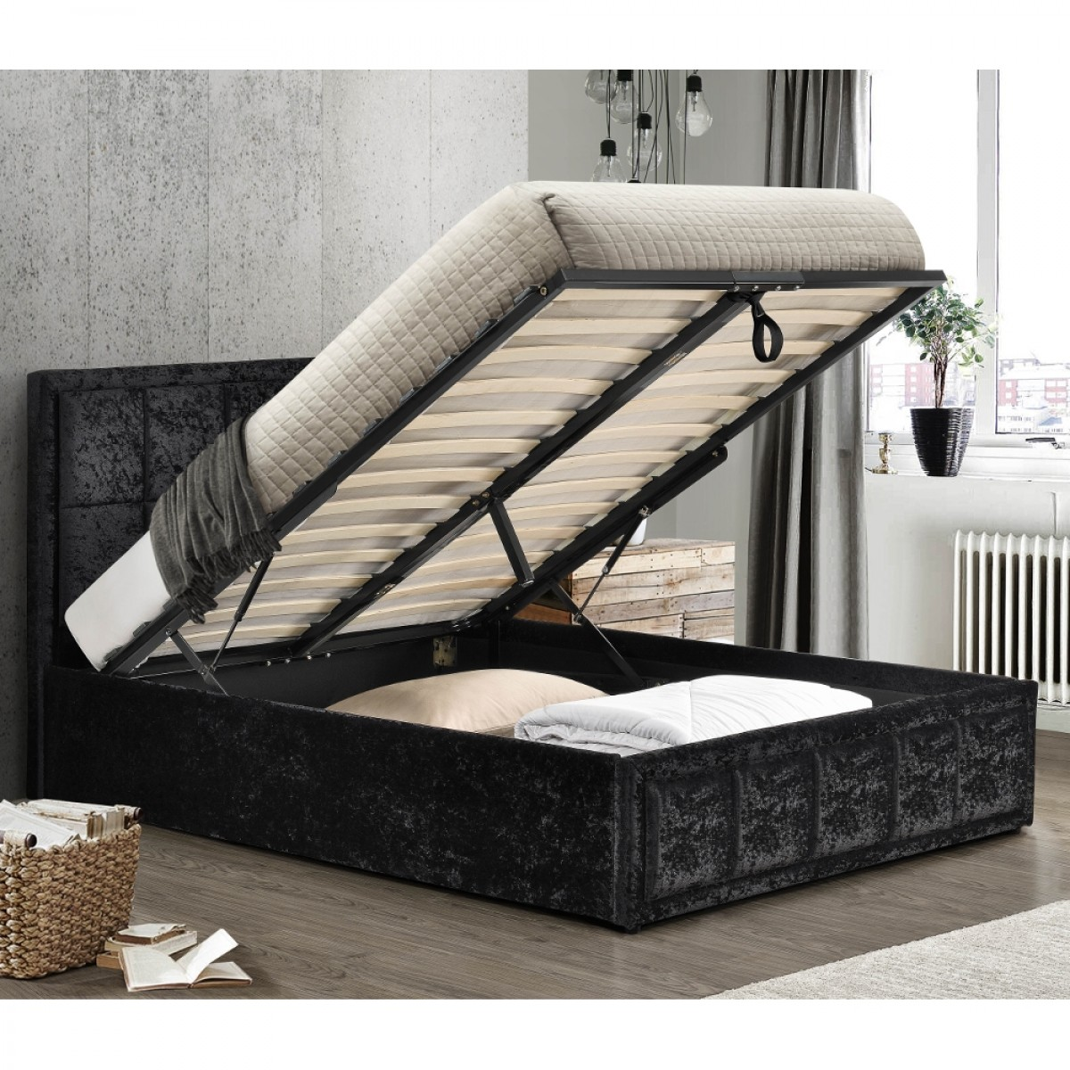 Hannover Black Velvet Fabric Ottoman Storage Bed