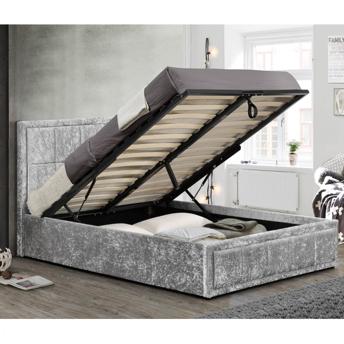 Hannover Steel Velvet Fabric Ottoman Storage Bed