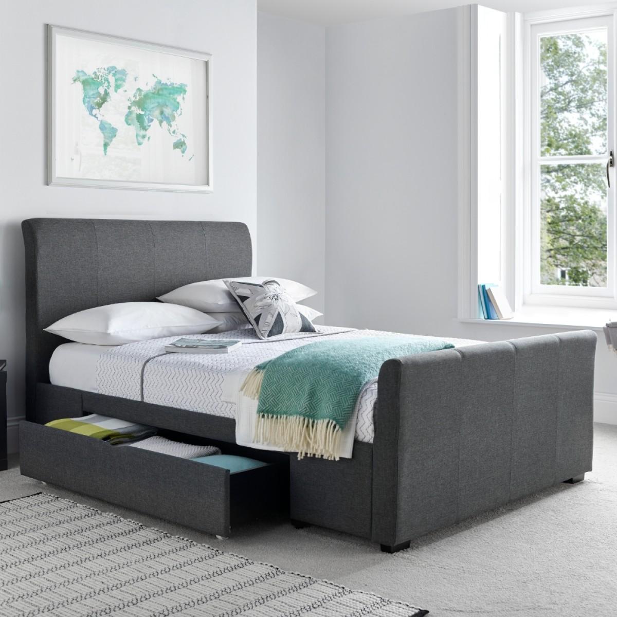 Hexham Grey Fabric 2 Drawer Storage Bed