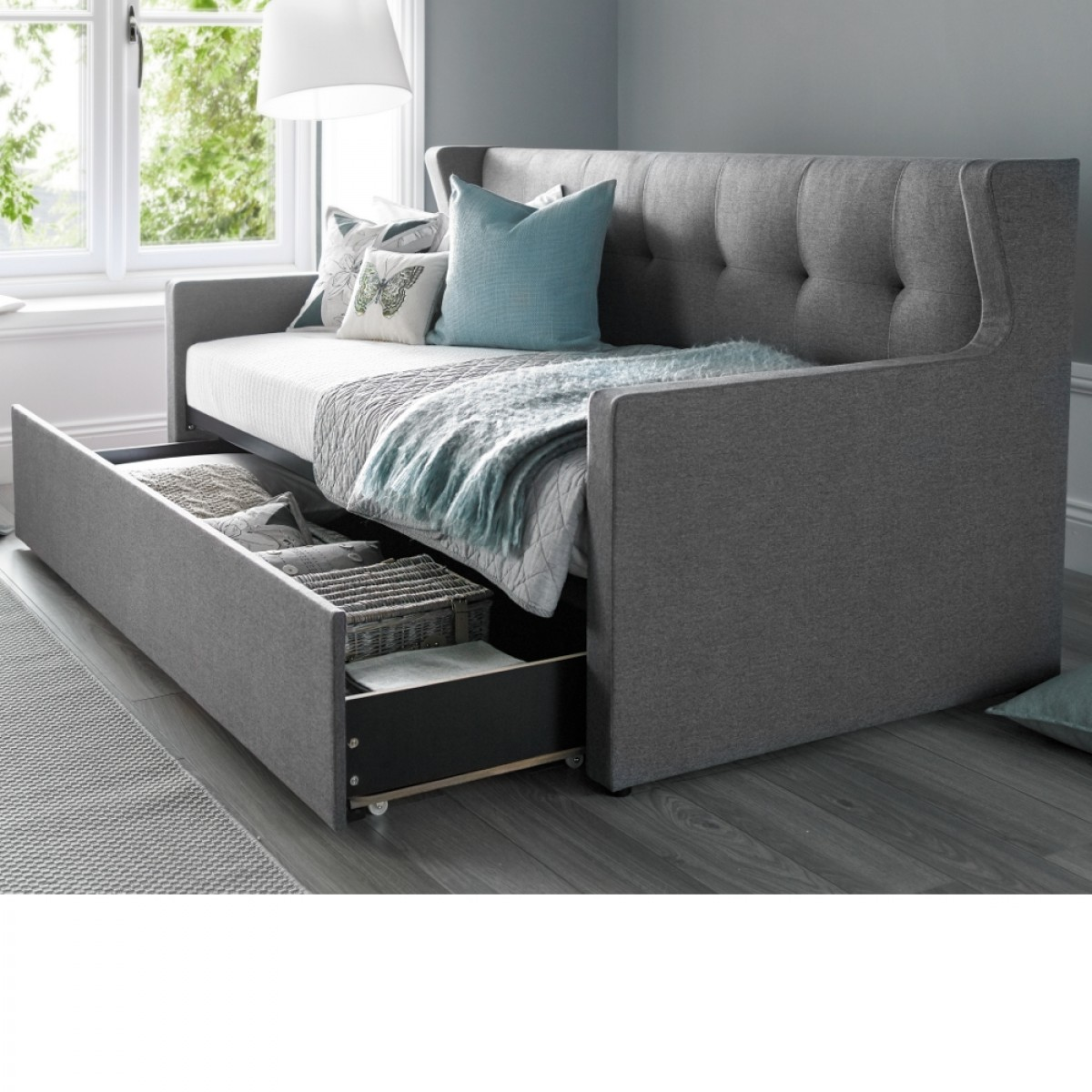 Hunter Grey Fabric Guest Bed
