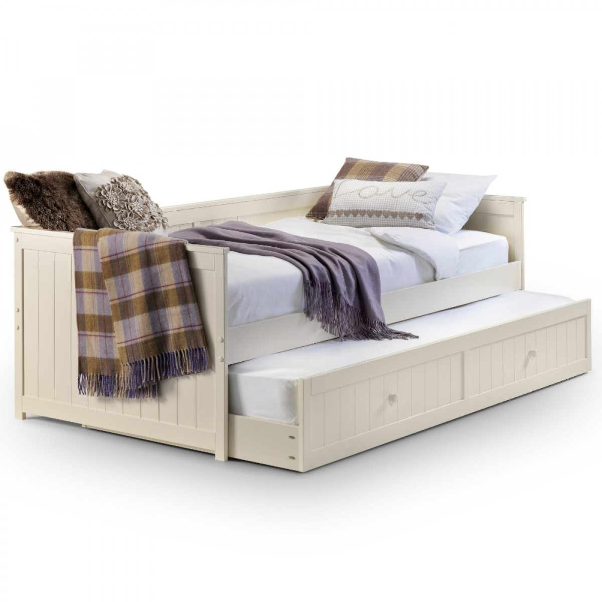 Jessica Stone White Wooden Guest Bed and Trundle - 3ft Single