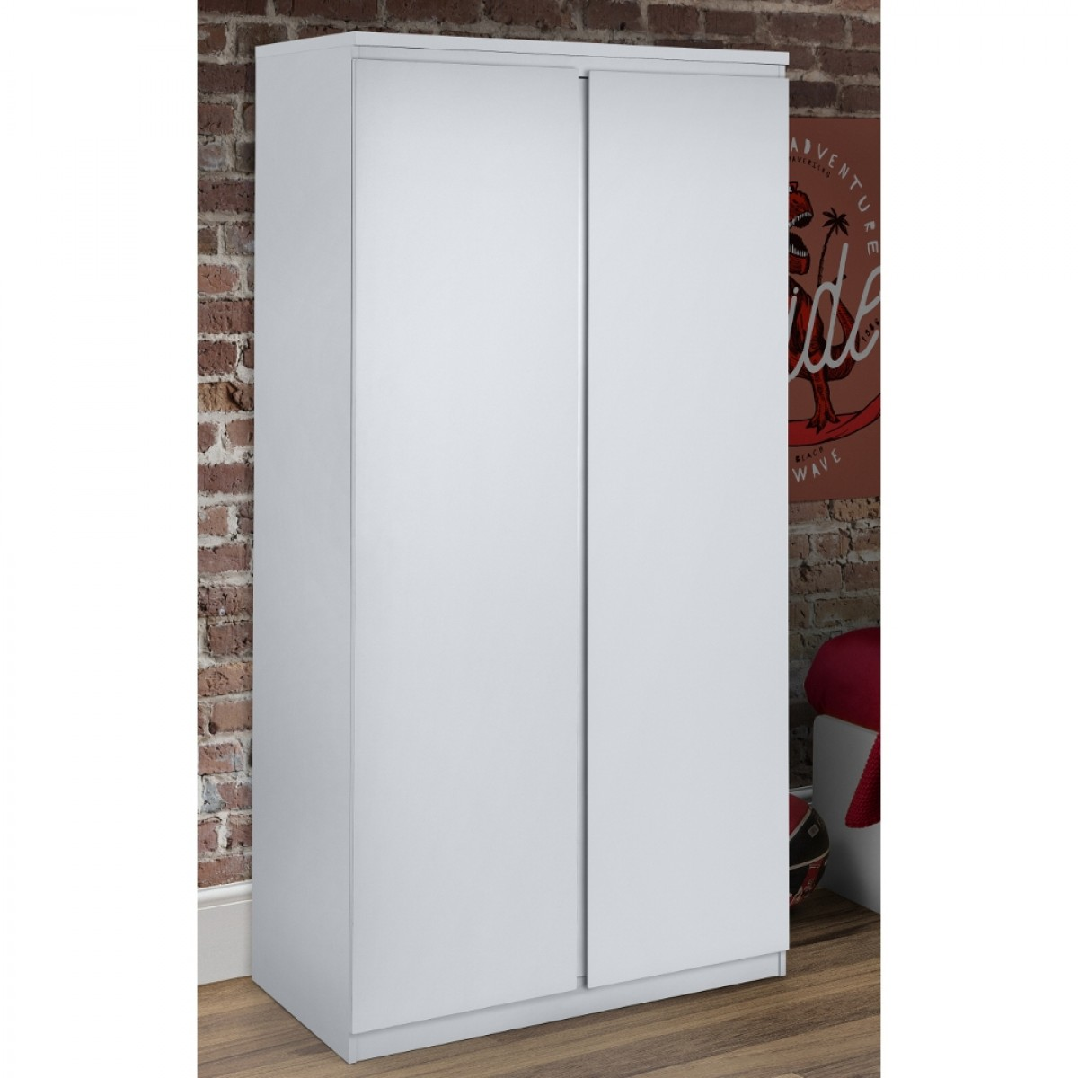 Jupiter White Wooden 2 Door Wardrobe