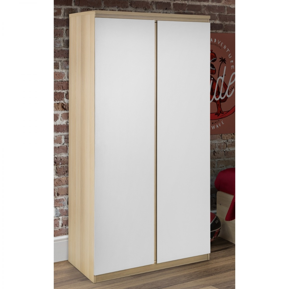 Jupiter Oak and White 2 Door Wardrobe