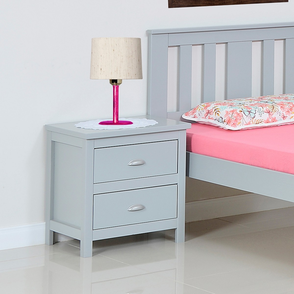 Kingston Grey Wooden 2 Drawer Bedside Table