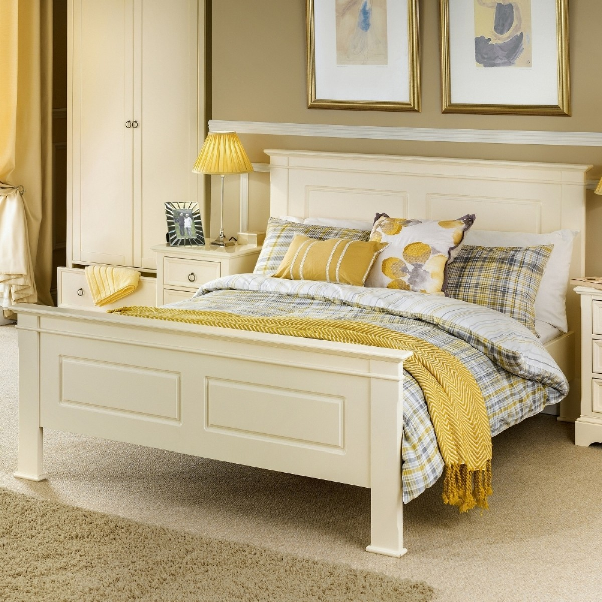 La Rochelle Stone White Wooden Bed