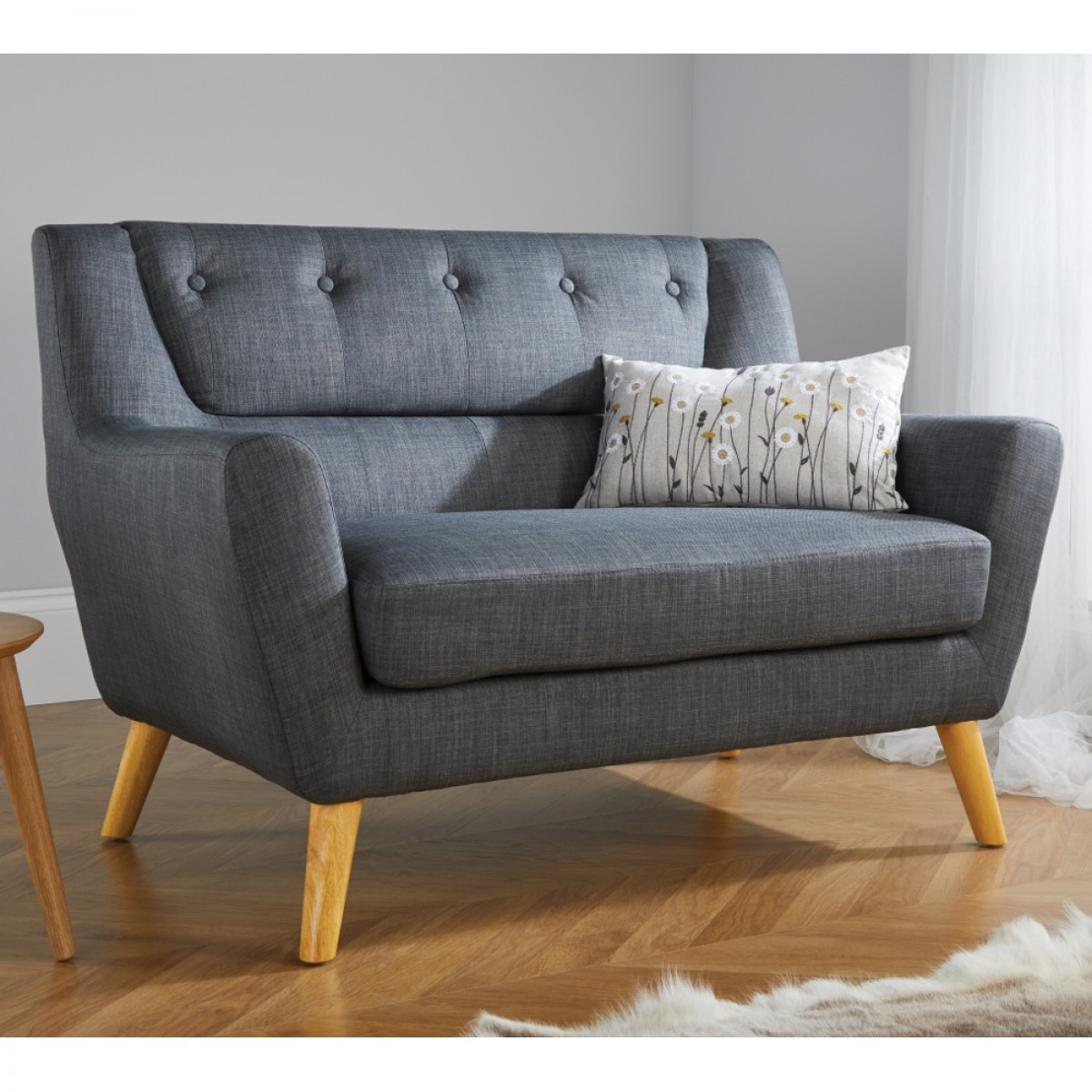 Lambeth 2 Seater Grey Fabric Sofa