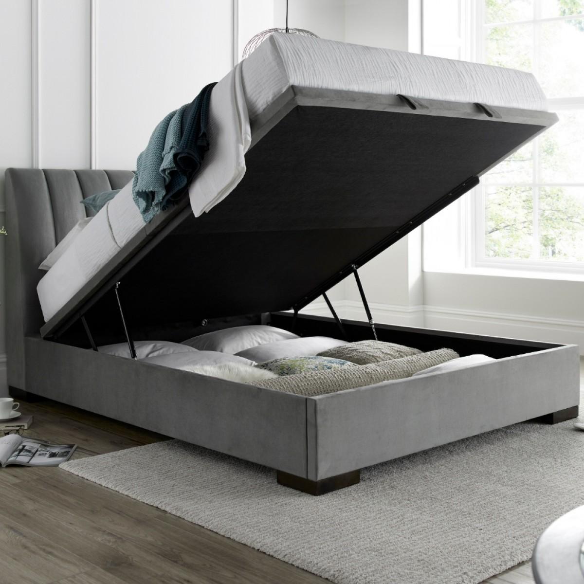 Lanchester Grey Plume Velvet Ottoman Bed