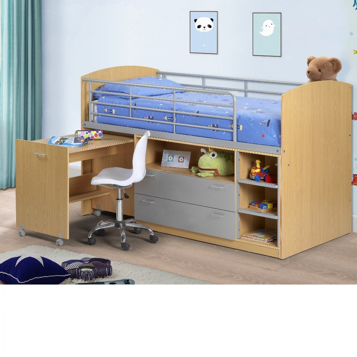 Leo Maple Finish Wooden and Metal Kids Mid Sleeper Sleep Station Desk Cabin Storage Bed