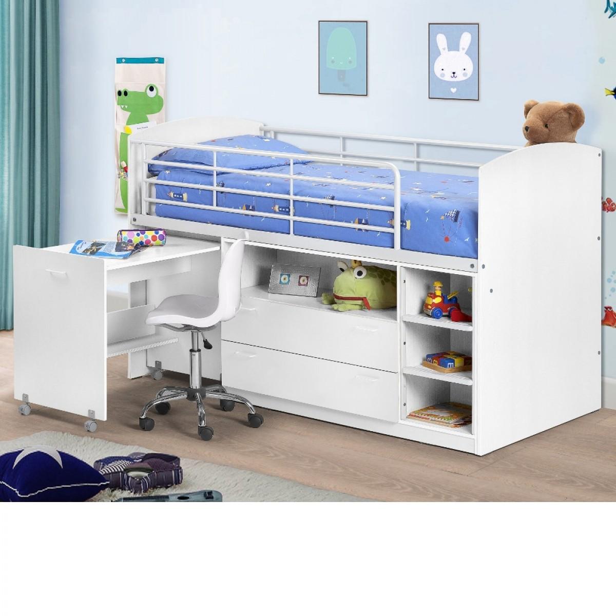Leo White Wooden and Metal Kids Mid Sleeper Sleep Station Desk Cabin Storage Bed