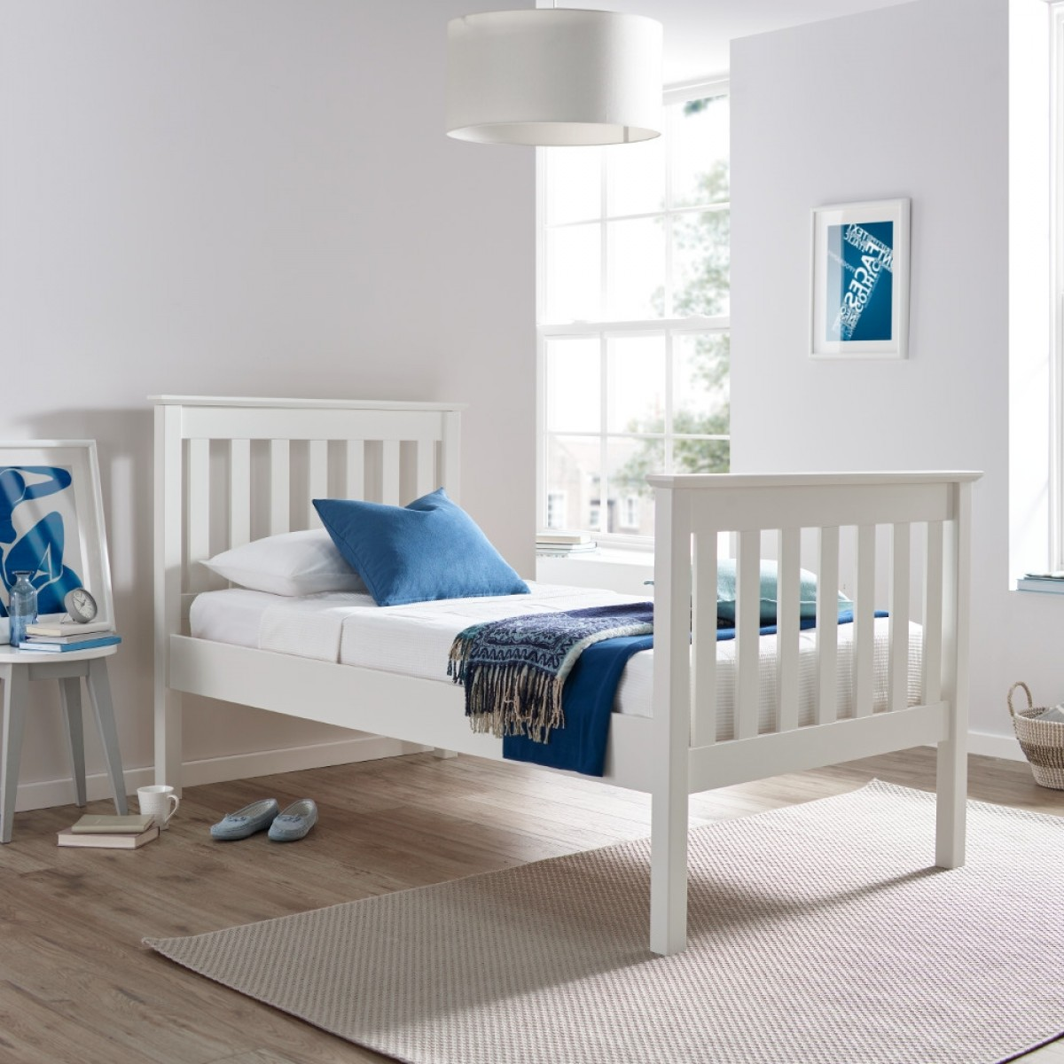 Lisbon White Finish Solid Pine Wooden High Foot End Bed
