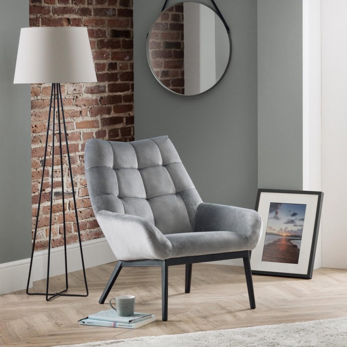 Lucerne Grey Velvet Fabric Chair
