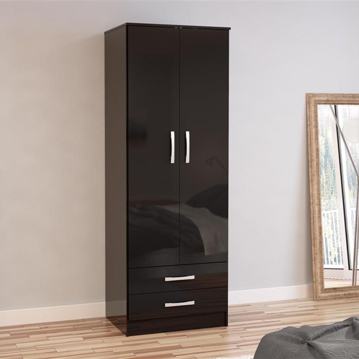 Lynx 2 Door Combination Wardrobe Black