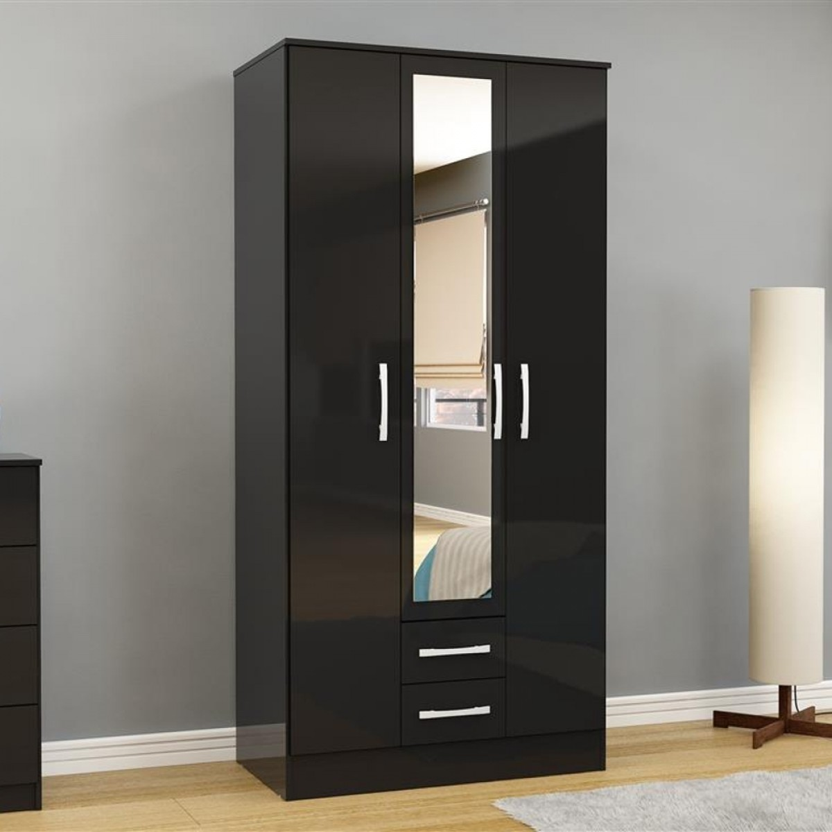 Lynx 3 Door Combination Mirrored Wardrobe Black