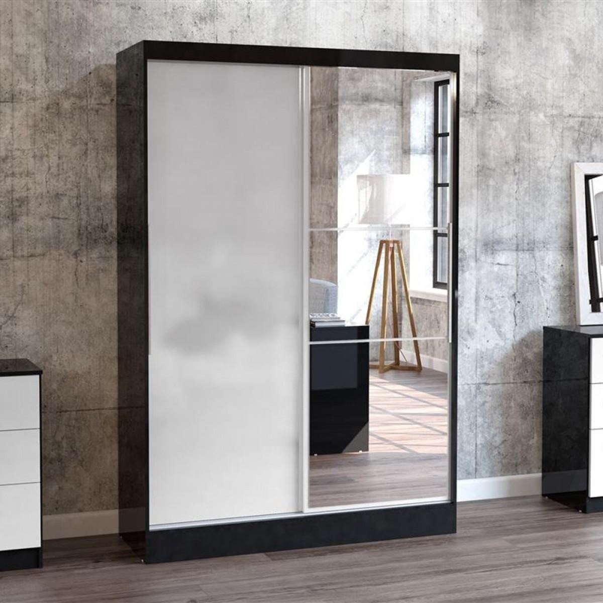 Lynx 2 Door Sliding Mirrored Wardrobe Black and White