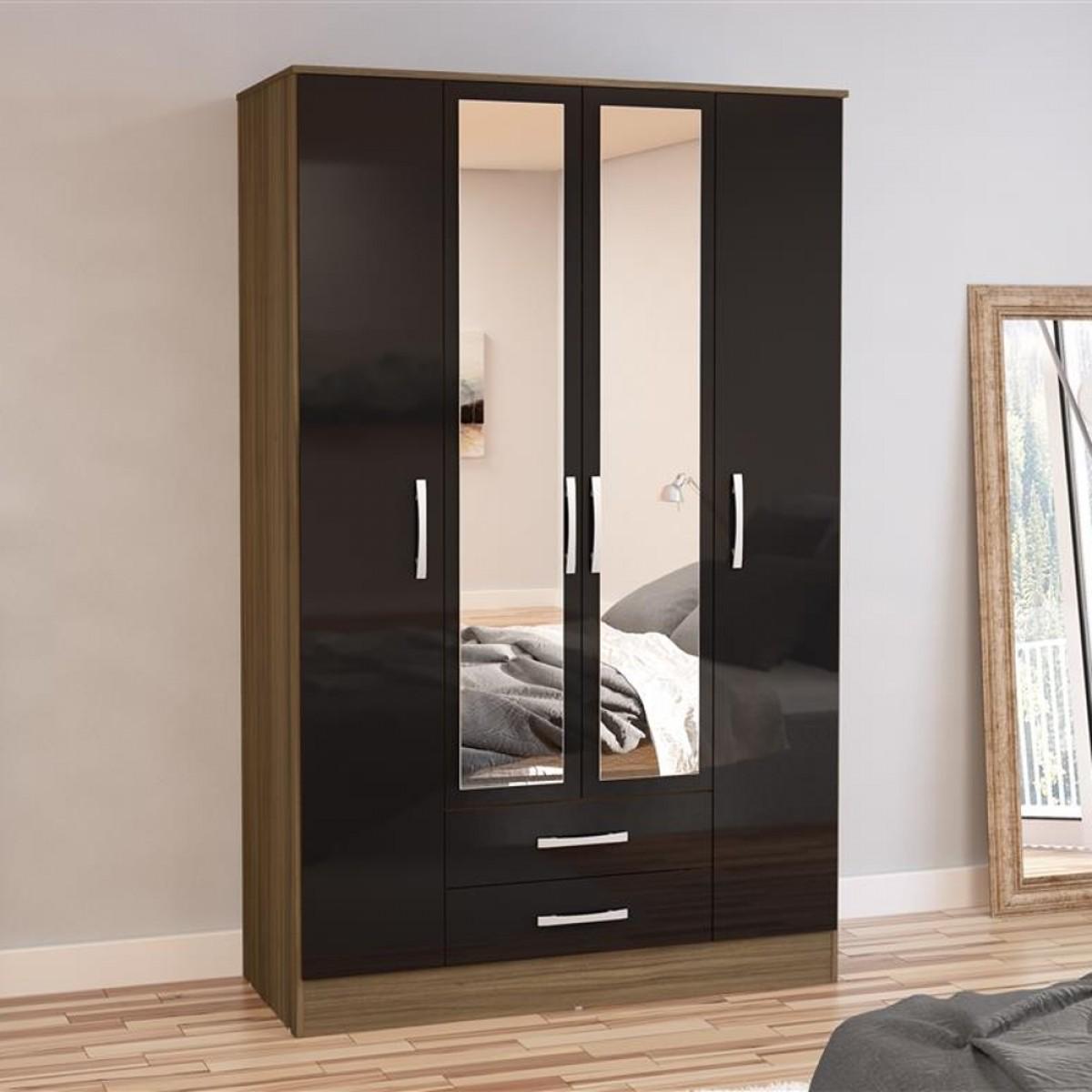 Lynx 4 Door Combination Mirrored Wardrobe Walnut and Black