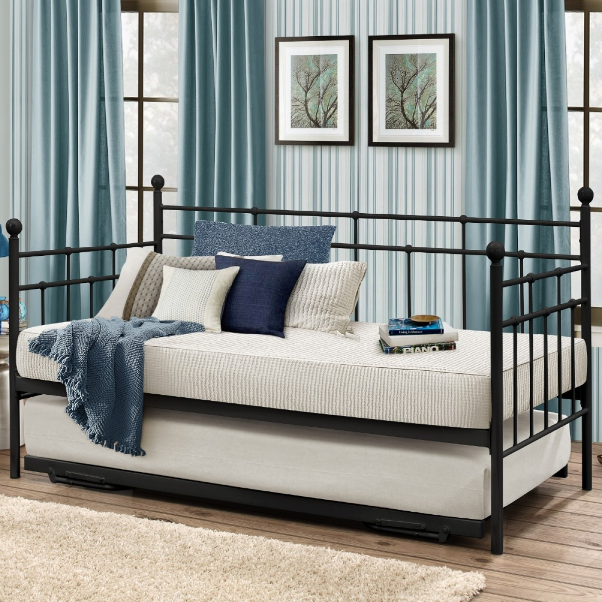 Lyon Black Metal Guest Bed with Trundle