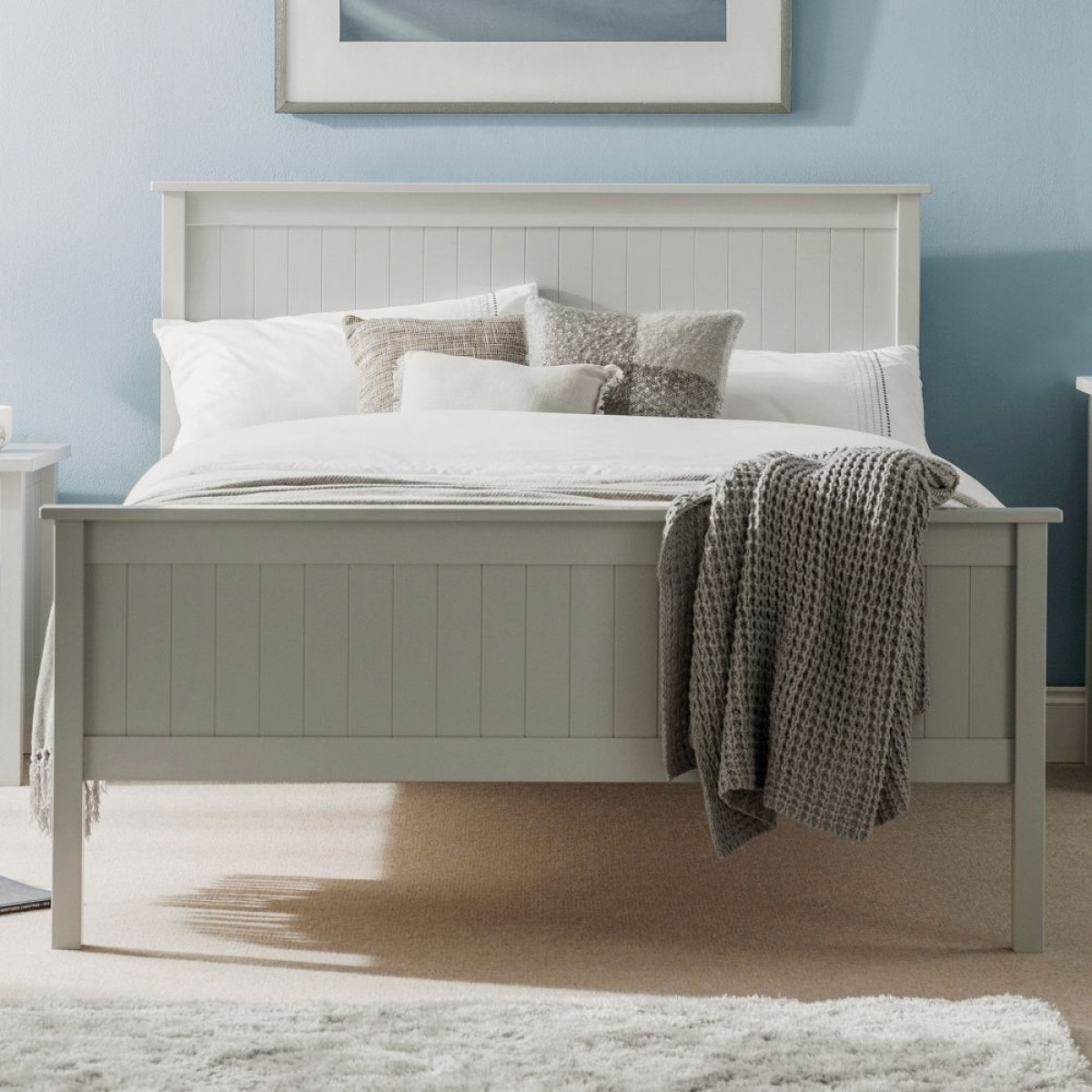 Maine Dove Grey Wooden Bed